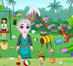 Little Girl Park Cleaning